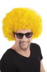 Aikuisten diskoperuukki tuuheilla keltaisilla afrohiuksilla