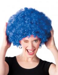 Aikuisten diskoperuukki tuuheilla sinisillä afrohiuksilla