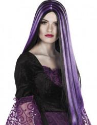 Naisten pitkä peruukki, musta/lila