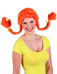 Oranssi peruukki saparoilla