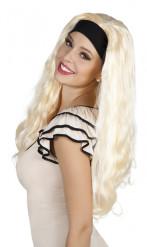 Naisten peruukki pitkillä vaaleilla hiuksilla ja hiuspannalla