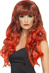 Merenneidon peruukki naisille - sis. pitkät punaiset kiharretut hiukset
