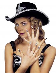 Naisten hopeanväriset tekokynnet 15 kpl