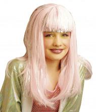 Pitkä vaaleanpunainen peruukki hopearaidoilla aikuisille