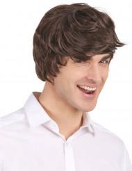 Miesten lyhyt ruskea peruukki nykyaikaisella leikkauksella