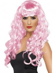 Vaaleanpunainen peruukki aikuisille