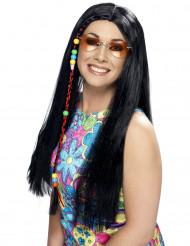 Musta pitkä hippiperuukki aikuisille