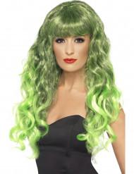 Pitkä kihara vihreä peruukki aikuisille