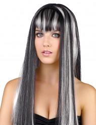 Mustavalkoinen peruukki naisille