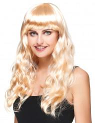 Pitkä vaalea peruukki naisille