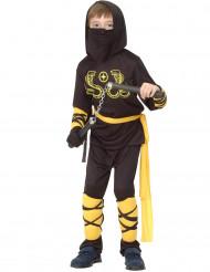Mustakeltainen ninja-asu lapsille
