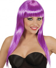 Pitkä violetti peruukki otsatukalla