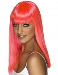 Pitkä vaaleanpunainen peruukki otsatukalla