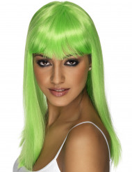 Neonvihreä pitkä peruukki aikuiselle