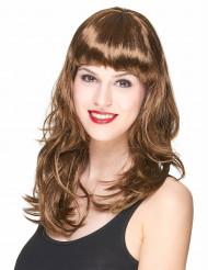 Naisten peruukki tumman punaisenruskeilla hiuksilla ja otsatukalla