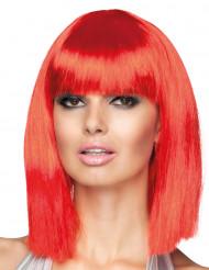 Naisten kulmikas punainen peruukki puolipitkillä hiuksilla