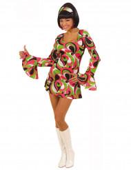 Lyhythelmainen diskomekko 70-luvun väreissä