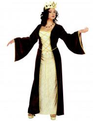 Keskiaikainen musta prinsessa-asu naisille
