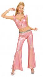 Naisen hohtavanvaaleanpunaiset discohousut