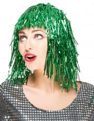 Vihreä metallihohtoinen peruukki naisille