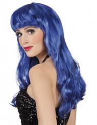 Pitkä sininen peruukki naiselle