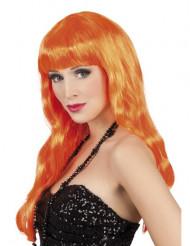 Naisten peruukki pitkillä oransseilla hiuksilla