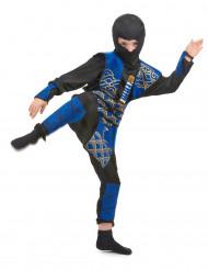 Sinisen ja kullanvärisen ninjan naamiaisasu lapselle