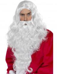 Aikuisten peruukki ja parta Joulupukki