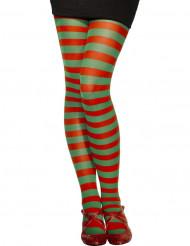 Punaviherraidalliset sukkahousut naisille