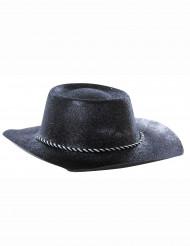 Glitterillä koristeltu musta cowgirlin hattu naisille