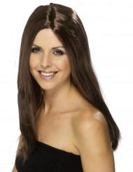 Pitkä ruskea peruukki naiselle 44 cm