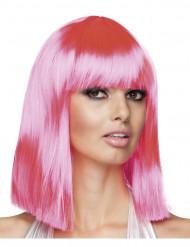 Naisten kulmikas peruukki puolipitkillä vaaleanpunaisilla hiuksilla
