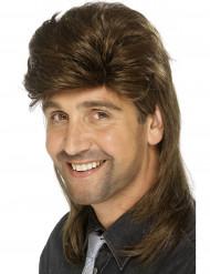 Miesten ruskea peruukki takatukalla