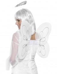 Aikuisen valkoiset enkelin siivet ja sädekehä