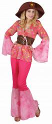 Vaaleanpunainen hippiasu naiselle