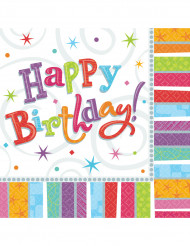 Värikkäät Happy Birthday -servetit, 16 kpl