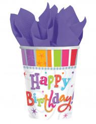 Kartonkimukit Happy Birthday -tekstillä - 8 kpl