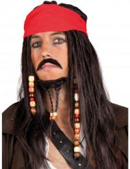 Merirosvon punainen bandanallinen peruukki miehelle