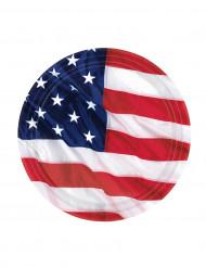 8kpl amerikanlippu lautanen