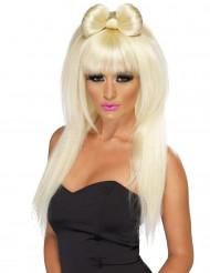 Naisten peruukki pitkillä vaaleilla hiuksilla ja rusetilla
