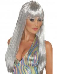 Naisten pitkä peruukki hopeanvärisillä hiuksilla
