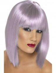 Puolipitkä violetti peruukki naiselle