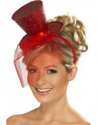 Minikokoinen punainen silinterihattu naisille