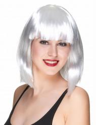 Puolipitkä valkoinen peruukki naisille