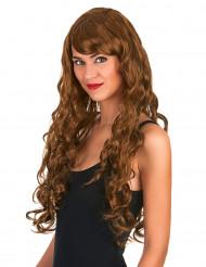 Naisten tyylikäs punaruskea peruukki pitkillä kiharoilla