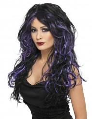 Musta peruukki violeteilla raidoilla