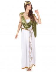 Kreikkalaisen jumalattaren asu vihreällä viitalla