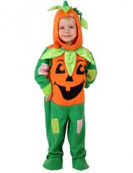 Vihreä-oranssi lapsen kurpitsa-asu halloweeniin