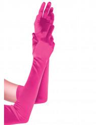 Vaaleanpunaiset pitkät hanskat aikuiselle