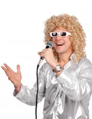 Blondi kihara peruukki ja lasit aikuisille